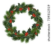 christmas decorations with fir... | Shutterstock .eps vector #739312519