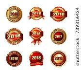 set of happy new year 2018... | Shutterstock . vector #739316434