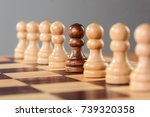Small photo of A black pawn stands in the middle of a row of white pawns, either remarking its different characteristics of the group's acceptance.
