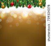 christmas border with golden... | Shutterstock .eps vector #739324378