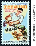 north korea   circa 1975  a... | Shutterstock . vector #739329439