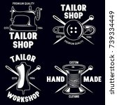 set of vintage tailor labels ... | Shutterstock .eps vector #739334449