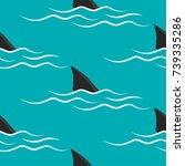 shark fins on a blue background ... | Shutterstock .eps vector #739335286