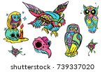 owl collection tattoo   Shutterstock .eps vector #739337020