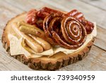 grilled appetizing sausages on... | Shutterstock . vector #739340959