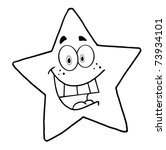 Outlined Happy Star Mascot...