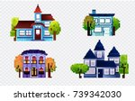 pixel houses with tree ... | Shutterstock .eps vector #739342030