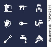 set of 9 construction icons set.... | Shutterstock .eps vector #739343944