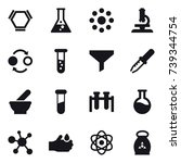 16 vector icon set   hex... | Shutterstock .eps vector #739344754
