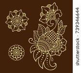 set of mehndi flower pattern... | Shutterstock .eps vector #739346644
