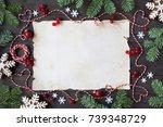 christmas wooden background...   Shutterstock . vector #739348729