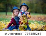 sweet siblings  brother and... | Shutterstock . vector #739355269
