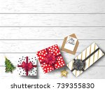 happy new year and merry... | Shutterstock .eps vector #739355830