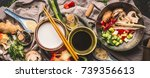 vegetarian stir fry ingredients ... | Shutterstock . vector #739356613