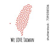 taiwan map with red hearts ... | Shutterstock .eps vector #739358536