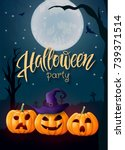 halloween background  pumpkin.... | Shutterstock .eps vector #739371514
