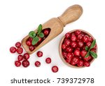 Cranberry With Leaf In Wooden...