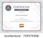 luxury certificate template... | Shutterstock .eps vector #739374508
