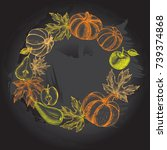 thanksgiving background. wreath ... | Shutterstock .eps vector #739374868