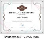 luxury certificate template... | Shutterstock .eps vector #739377088