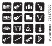music instruments icons. grunge ... | Shutterstock .eps vector #739377370
