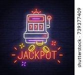 casino neon sign. slots.... | Shutterstock .eps vector #739377409