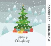 christmas tree in winter forest ... | Shutterstock .eps vector #739380010