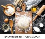 baking ingredients. bowl  eggs  ... | Shutterstock . vector #739386934