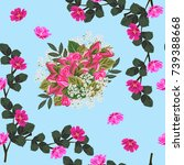 seamless vintage pattern with...   Shutterstock .eps vector #739388668