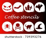halloween coffee stencils | Shutterstock .eps vector #739393276