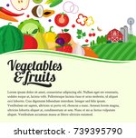 vector fruits and vegetables... | Shutterstock .eps vector #739395790