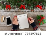 christmas wish list writing.... | Shutterstock . vector #739397818