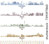 abstract vector set of london ... | Shutterstock .eps vector #739397860