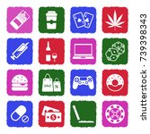 addiction icons. grunge color... | Shutterstock .eps vector #739398343