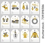 set of christmas gift tags  ... | Shutterstock .eps vector #739398586