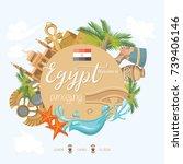 egypt travel poster. vector... | Shutterstock .eps vector #739406146