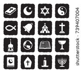 religion icons. grunge black... | Shutterstock .eps vector #739407004