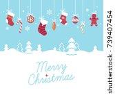 lovely bright vector 'merry... | Shutterstock .eps vector #739407454