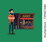 barber shop owner vector flat... | Shutterstock .eps vector #739407484