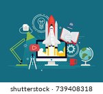 cool vector startup research... | Shutterstock .eps vector #739408318