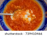 plate of borsch with sour cream ... | Shutterstock . vector #739410466