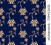 golden floral ornament on dark... | Shutterstock .eps vector #739412620