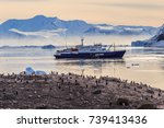 antarctic cruise ship in the... | Shutterstock . vector #739413436