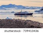 antarctic cruise ship in the... | Shutterstock . vector #739413436