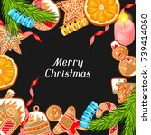 merry christmas greeting card... | Shutterstock .eps vector #739414060