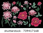 set of botanical flowers... | Shutterstock .eps vector #739417168
