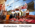 row of pure drinking water... | Shutterstock . vector #739420240