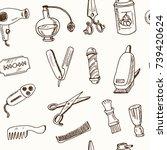 hand drawn doodle barbershop...   Shutterstock .eps vector #739420624