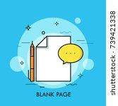 white sheet  pen and speech... | Shutterstock .eps vector #739421338