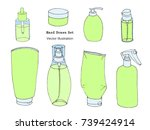 hand drawn body care  cosmetic  ... | Shutterstock .eps vector #739424914
